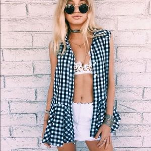 Gingham button down top / Never worn with tags